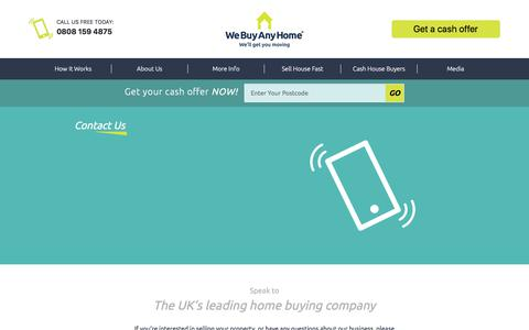 Screenshot of Contact Page webuyanyhome.com - Contact We Buy Any Home - UK's Leading Home Buying Company - captured Sept. 20, 2018