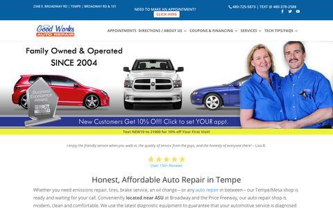 Screenshot of Home Page goodworksautorepair.com - Honest and Affordable Auto Repair   Good Works Auto Repair - captured June 4, 2019