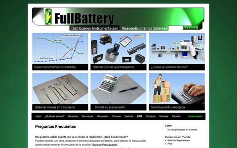 Screenshot of FAQ Page fullbattery.es - Preguntas Frecuentes - captured Oct. 27, 2014