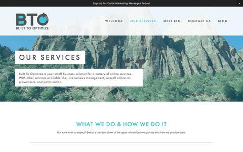 Screenshot of Services Page builttooptimize.com - Our Services — Built To Optimize - captured Oct. 29, 2014