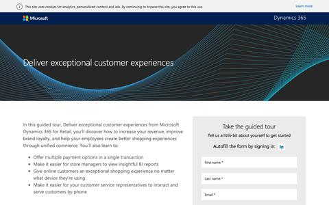 Screenshot of Landing Page microsoft.com - Deliver exceptional customer experiences guided tour | Microsoft Dynamics 365 - captured Oct. 30, 2018