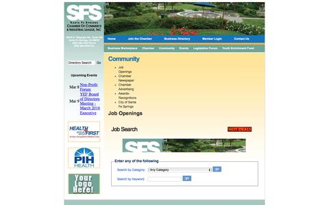 Screenshot of Jobs Page sfschamber.com - Job Search - Santa Fe Springs Chamber of Commerce, CA - captured March 5, 2016