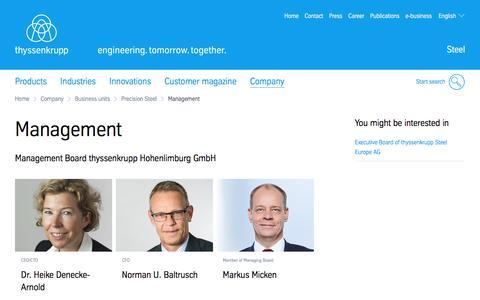 Screenshot of Team Page thyssenkrupp-steel.com - Management  >  thyssenkrupp Hohenlimburg  >  Subsidiaries  >  Company  >  thyssenkrupp Steel Europe - captured Jan. 25, 2017
