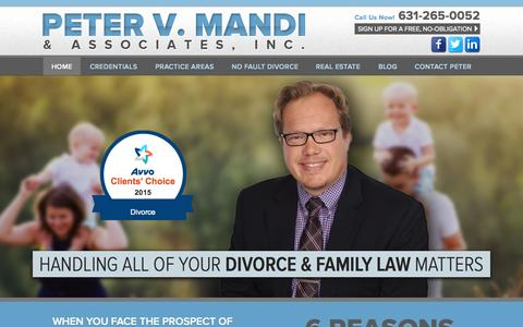 Screenshot of Home Page petermandi.com - Divorce Expert in NY | Family Law Lawyer in Bohemia NY - captured Sept. 3, 2015