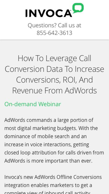 Invoca On-demand Webinar   How To Leverage Call Conversion Data To Increase Conversions, ROI, And Revenue From AdWords