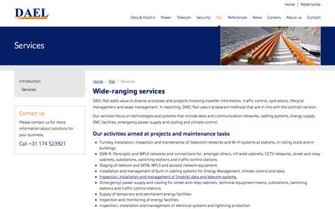 Screenshot of Services Page dael.com - Wide-ranging services - captured Oct. 5, 2014