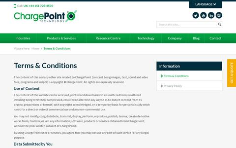 Screenshot of Terms Page thechargepoint.com - Terms & Conditions | ChargePoint | ChargePoint - captured July 18, 2014