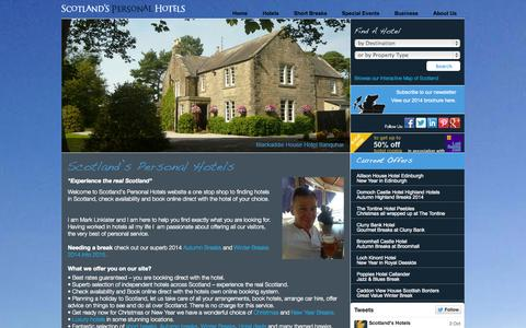 Screenshot of Home Page scotland-hotels.com - Hotels in Scotland | Scotland's Personal Hotels - captured Oct. 4, 2014