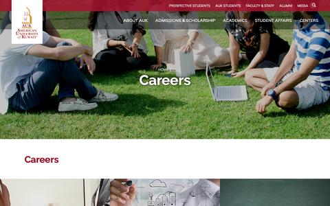 Screenshot of Jobs Page auk.edu.kw - AUK - AMERICAN UNIVERSITY OF KUWAIT - Careers - captured Nov. 8, 2018