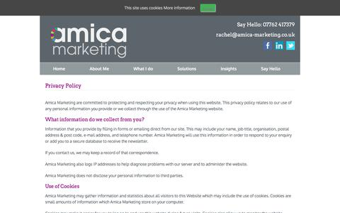Screenshot of Privacy Page amica-marketing.co.uk - Privacy Policy - Amica Marketing - captured July 30, 2018