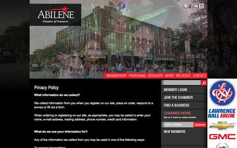 Screenshot of Privacy Page abilenechamber.com - Abilene Chamber - captured Oct. 26, 2014