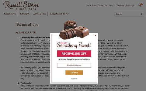 Screenshot of Terms Page russellstover.com - Terms Of Use   Russell Stover Chocolates - captured Nov. 6, 2017