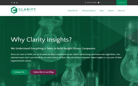 Screenshot of About Page clarityinsights.com - Clarity Insights Big Data, Data Science and Data Management Cosulting - captured March 8, 2017