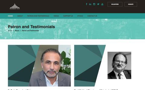 Screenshot of Testimonials Page ramadantentproject.com - Ramadan Tent Project - captured Aug. 12, 2016