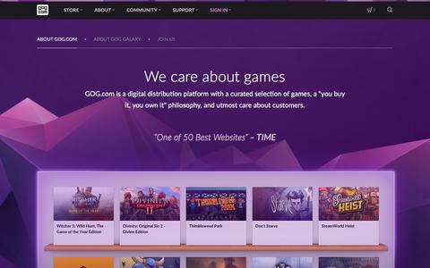 Screenshot of About Page gog.com - GOG.com - captured Sept. 21, 2018