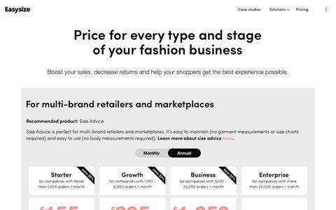 Screenshot of Pricing Page easysize.me - Pricing   Easysize - captured Nov. 19, 2019