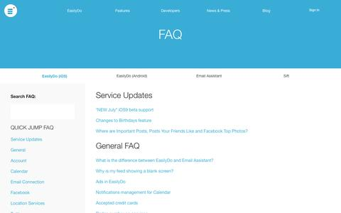 Screenshot of FAQ Page easilydo.com - EasilyDo FAQ | Answering Your Questions About Our Personal Assistant App - captured Nov. 18, 2015
