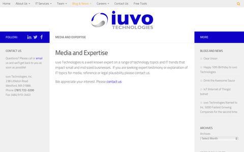 Screenshot of iuvotech.com - Media and Expertise - iuvo Technologies - captured Feb. 9, 2017