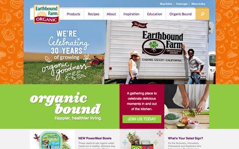 Screenshot of Home Page ebfarm.com - Earthbound Farm Organic | - captured Sept. 19, 2014