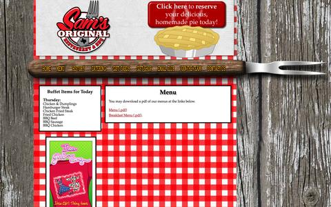 Screenshot of Menu Page samsoriginal.com - Sam's Restaurant | Menu - captured June 16, 2016