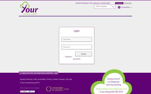 Screenshot of Login Page yourhousinggroup.co.uk - Login | Your Housing Group - captured Oct. 27, 2014