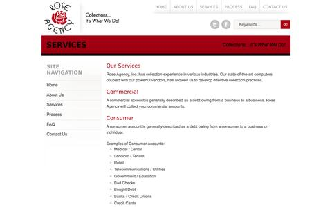 Screenshot of Services Page roseagencyinc.com - Services | Rose Agency, Inc. - captured Sept. 30, 2014