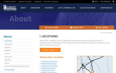 Screenshot of Locations Page ptc.edu - Locations | Piedmont Technical College - captured May 9, 2017