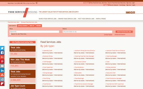 Screenshot of Jobs Page foodservicescrossing.com - Food Services Jobs, Browse Jobs in Food Services By Job Type, City, State in United States   FoodServicesCrossing.com - captured Jan. 8, 2016