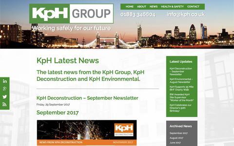 Screenshot of Press Page kph.co.uk - News & Updates   KpH Group - captured Oct. 17, 2017