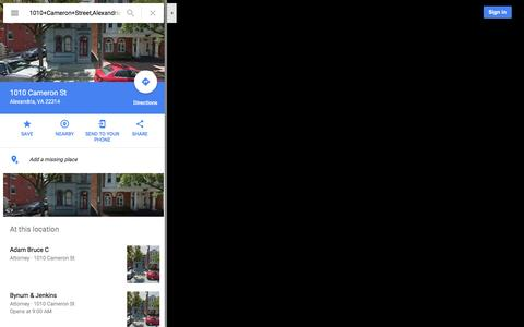Screenshot of Maps & Directions Page google.com - 1010 Cameron St - Google Maps - captured Dec. 10, 2016