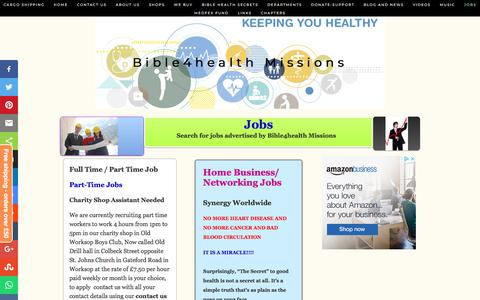 Screenshot of Jobs Page bible4healthmissions.com - Jobs - Bible4health Missions - captured Aug. 2, 2018