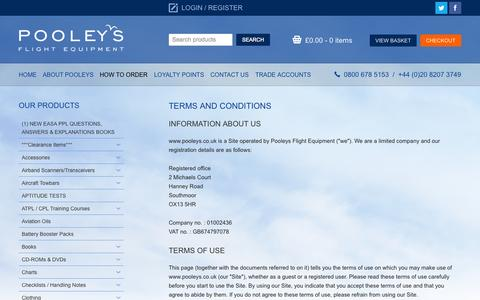 Screenshot of Terms Page pooleys.com - Pooleys Flying and Navigational Products and Accessories - captured Nov. 2, 2014