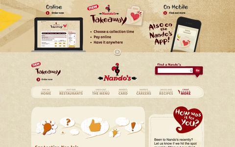 Screenshot of Contact Page nandos.co.uk - More | Nando's - captured Nov. 3, 2014
