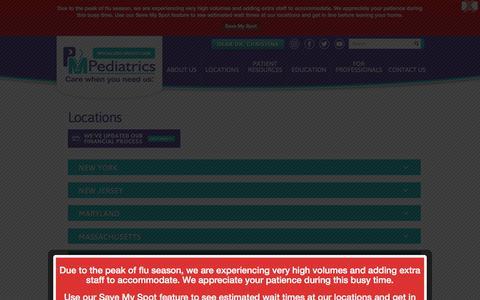 Screenshot of Locations Page pmpediatrics.com - Locations   PM Pediatrics - captured Jan. 31, 2018