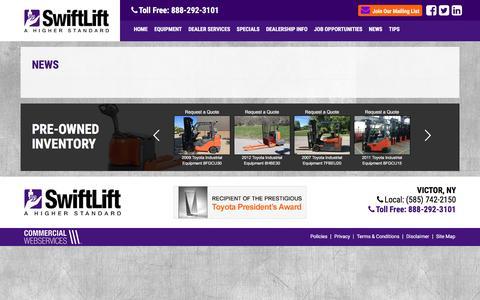 Screenshot of Press Page swiftlift.com - SwiftLift, A Higher Standard - Your Local Toyota Forklift and Kelley Docking Dealer - captured Dec. 1, 2016