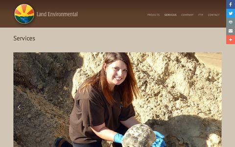 Screenshot of Services Page landenv.com - Services - Land Environmental - captured July 14, 2017