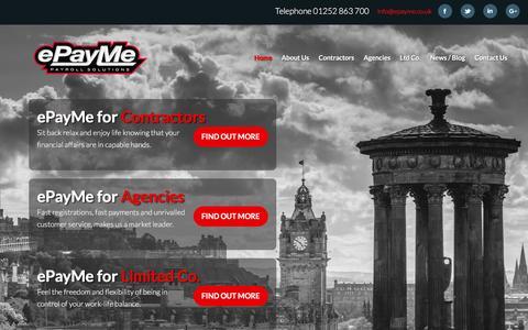 Screenshot of Home Page epayme.co.uk - ePayMe - Payroll Solutions - captured July 18, 2016