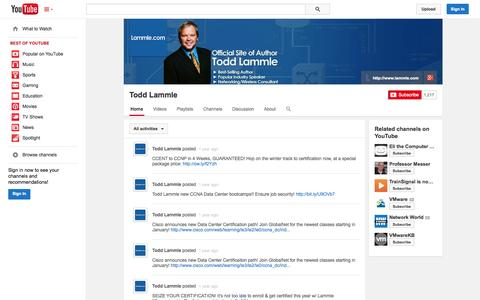 Screenshot of YouTube Page youtube.com - Todd Lammle  - YouTube - captured Oct. 22, 2014