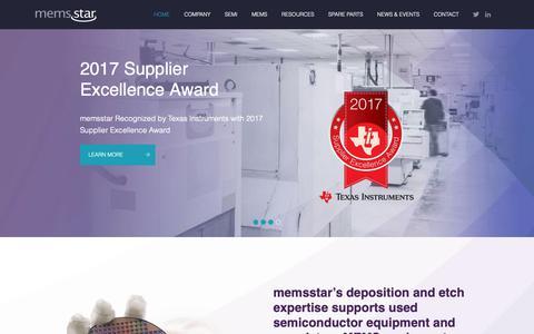 Screenshot of Home Page memsstar.com - Used Semiconductor Equipment | MEMS Equipment | memsstar - captured Oct. 18, 2018