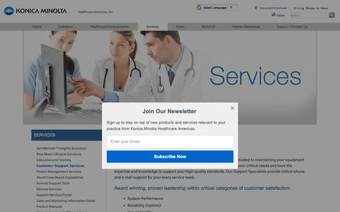 Screenshot of Support Page konicaminolta.com - Customer Support Services | Konica Minolta Healthcare Americas, Inc. - captured Oct. 17, 2018