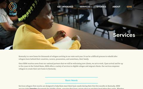 Screenshot of Services Page kyrm.org - Services - Kentucky Refugee Ministries, Inc. - captured Nov. 27, 2016