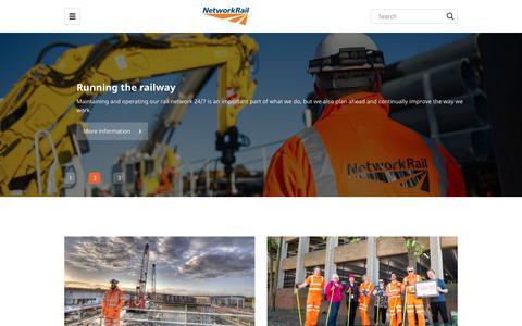 Screenshot of Home Page networkrail.co.uk - Home - Network Rail - captured June 22, 2019