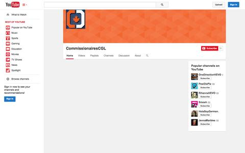 Screenshot of YouTube Page youtube.com - CommissionairesCGL  - YouTube - captured Oct. 22, 2014