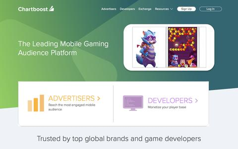 Screenshot of Home Page chartboost.com - Grow mobile game revenue with Chartboost - captured Sept. 18, 2017