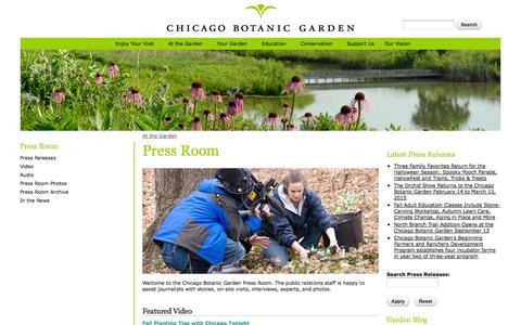 Screenshot of Press Page chicagobotanic.org - Press Room | Chicago Botanic Garden - captured Sept. 19, 2014