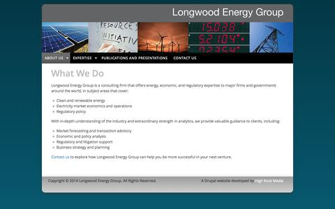 Screenshot of Home Page About Page longwoodenergy.com - Longwood Energy Group | Clean energy and economics experts - captured Oct. 3, 2014