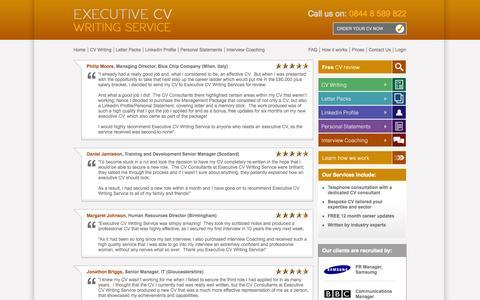 Screenshot of Testimonials Page executivecvwritingservice.com - Executive CV Writing Service - captured Sept. 30, 2014