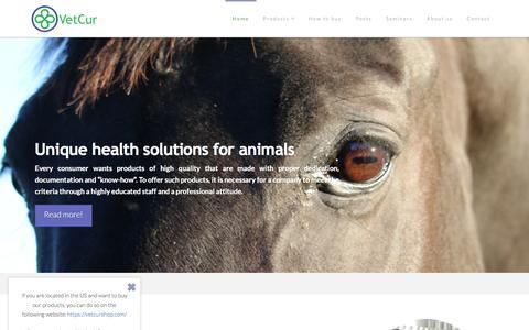Screenshot of Home Page vetcur.com - Food Supplements Dog, Cat and Horse   VetCur - captured Feb. 14, 2016
