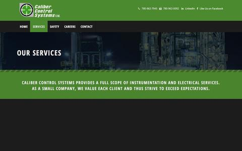 Screenshot of Services Page calibercontrolsystems.com - Our Services | Caliber Control Systems - captured Dec. 6, 2015
