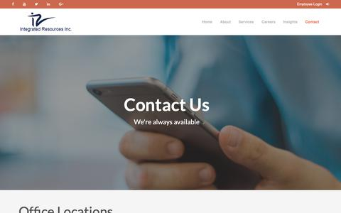 Screenshot of Contact Page irionline.com - Contact Us | Staffing Resources Jobs | Workforce Staffing Solutions Contract | Employment confirmation - captured Dec. 19, 2018